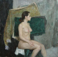 Female Figure 85x85 sm, oil on canvas, 2008